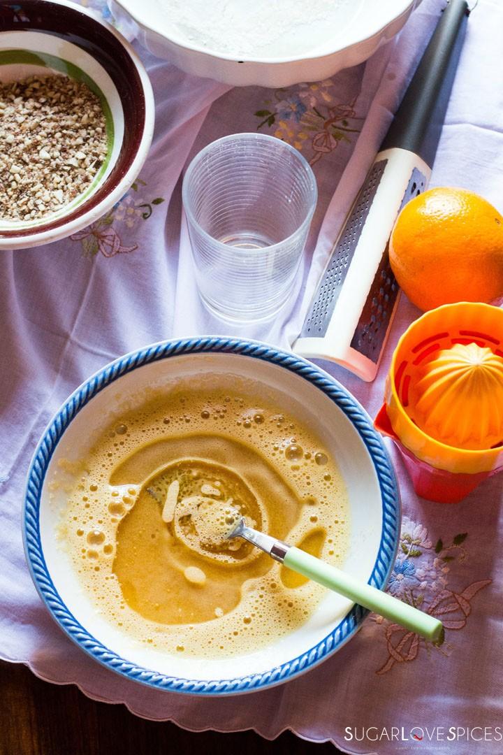 Easy Almond Orange Muffins-adding oil