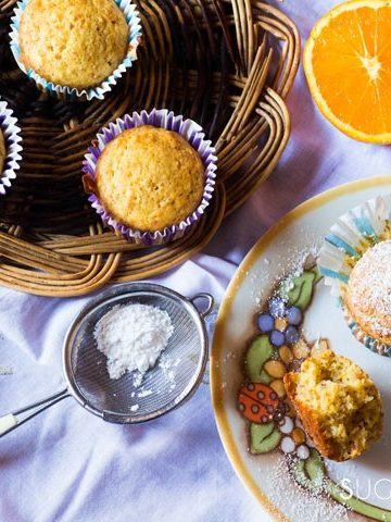 Easy Almond Orange Muffins-feature on a table