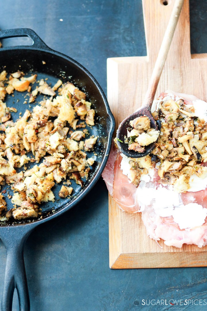 Mushroom Chicken Rolls wrapped in Prosciutto Cotto-stuffing chicken