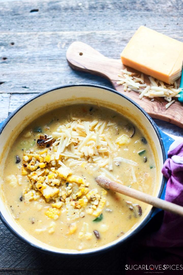 Butternut Squash Grilled Corn Chowder-adding cheese