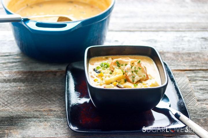 Butternut Squash Grilled Corn Chowder-feature