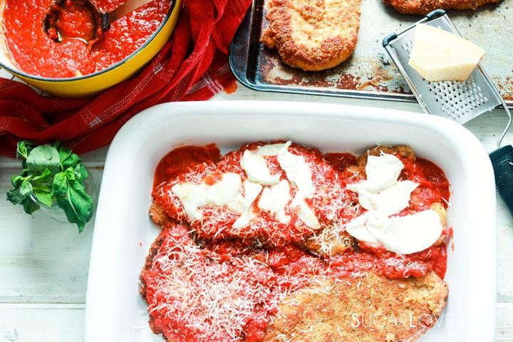 Chicken Parmigiana-prep-in the pan
