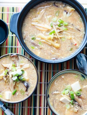 Hot and Sour Asian Soup-two bowls and pot