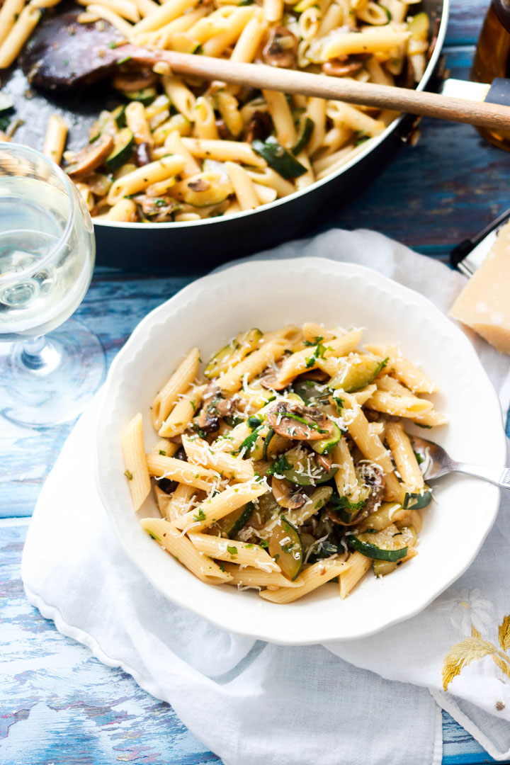 Penne with Zucchini and Mushrooms-table spread