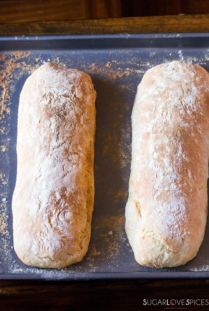 The best Italian Ciabatta Bread Recipe-out of the oven