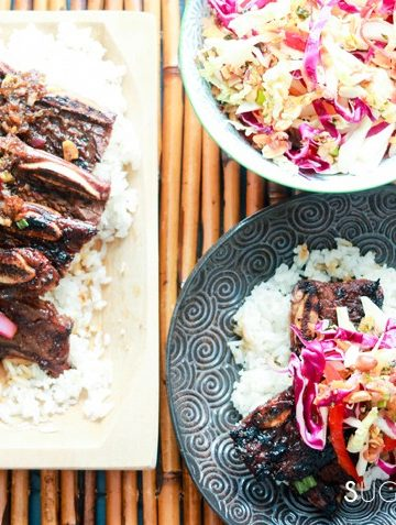 Korean-style Shortribs on Rice with Asian Slaw