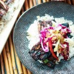 Korean-style Shortribs on Rice with Asian Slaw-closeup