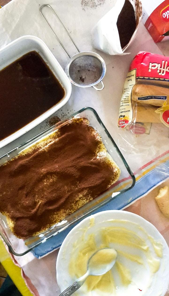 Pastry cream tiramisu-cocoa