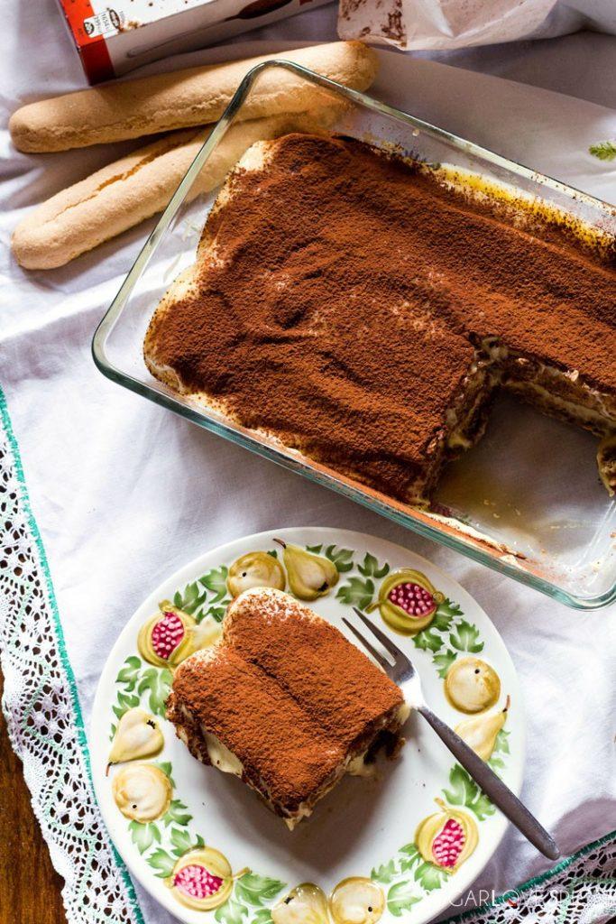 Pastry cream tiramisu-from the top