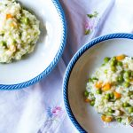 Rice with peas and carrots-in two plates