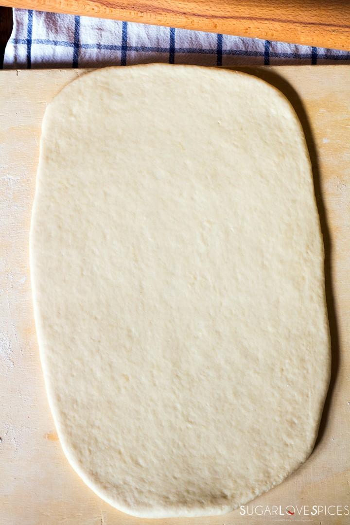 Strawberry jam brioche bread-rolling dough