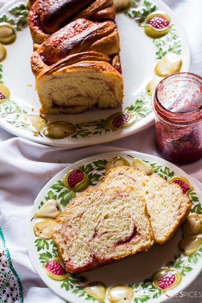Strawberry jam brioche bread-slices