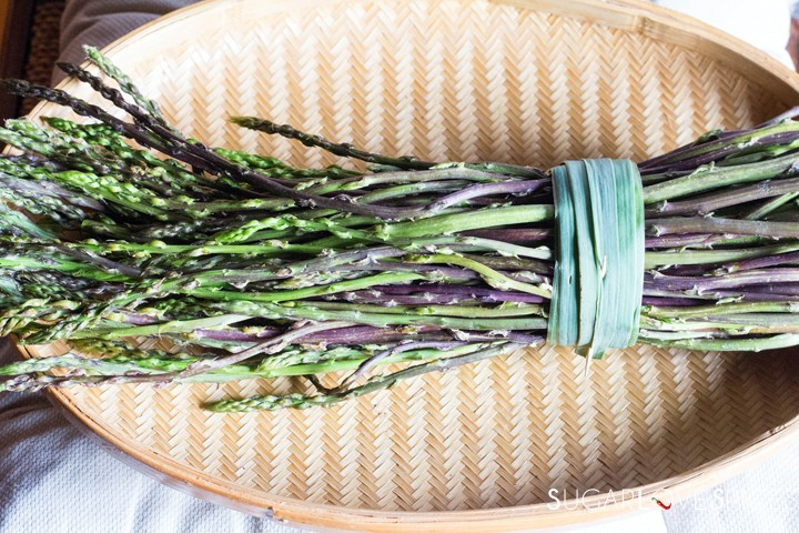 wild asparagus in a basket