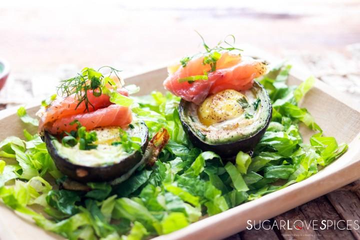 Aguacate Relleno-Stuffed Avocado-on the board closeup