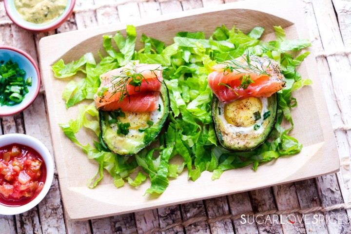 Aguacate Relleno-Stuffed Avocado-on the board-top view