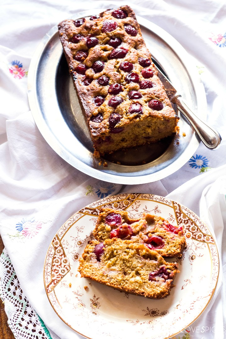 Delicious Cherry Almond Cake-big plate small plate