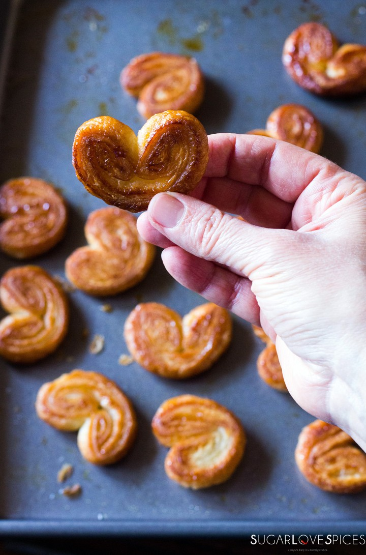 French palmiers with homemade puff pastry-hand
