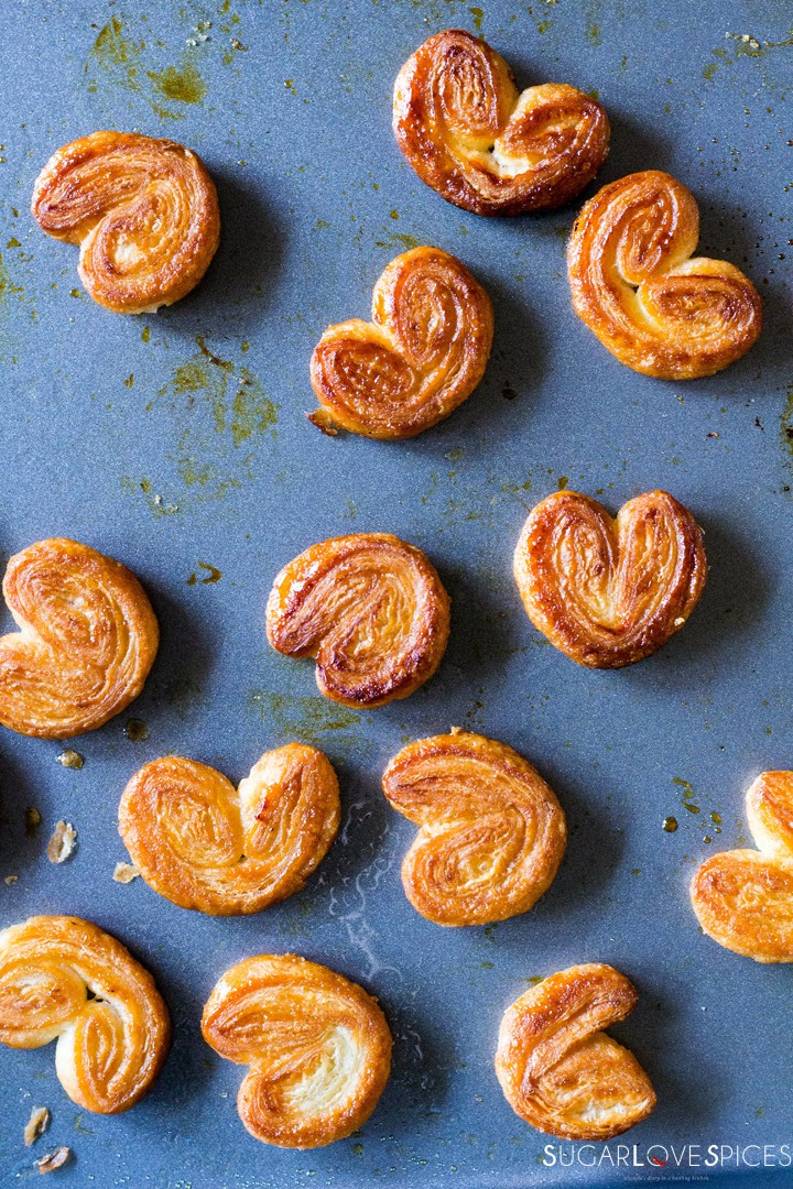 French palmiers with homemade puff pastry-pan