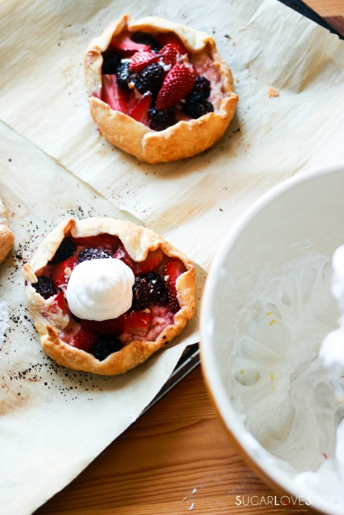 Mixed Berry Lazy Day Pies-meringue on top