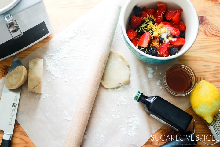 Mixed Berry Lazy Day Pies-rolling dough