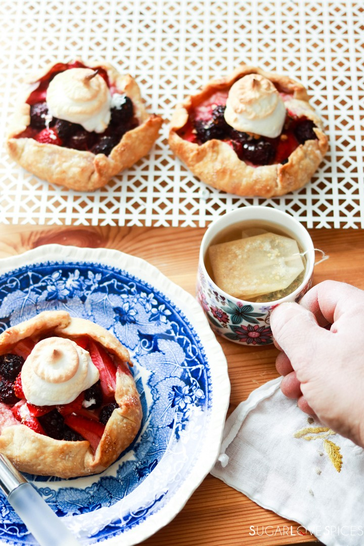 Mixed Berry Lazy Day Pies-with tea