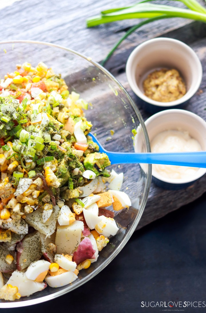 Potato Salad Deluxe-mixing