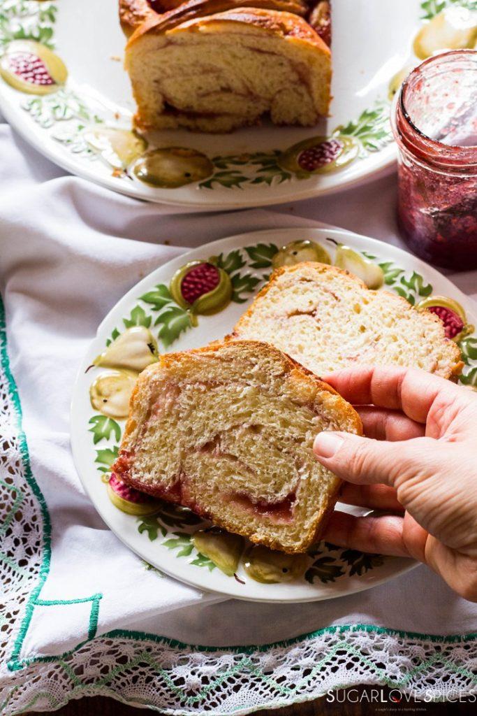 Strawberry jam brioche bread-two slices