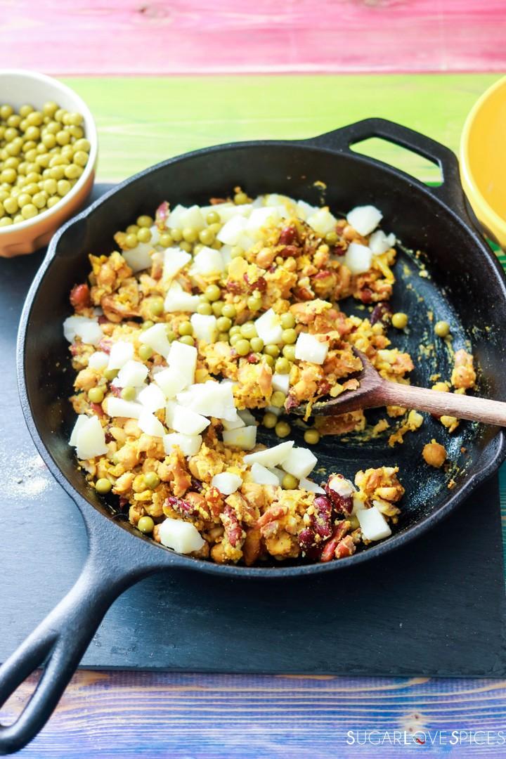 Bean medley Pakora Inspired Tacos-cooking filling