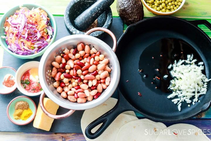 Bean medley Pakora Inspired Tacos-ingredients