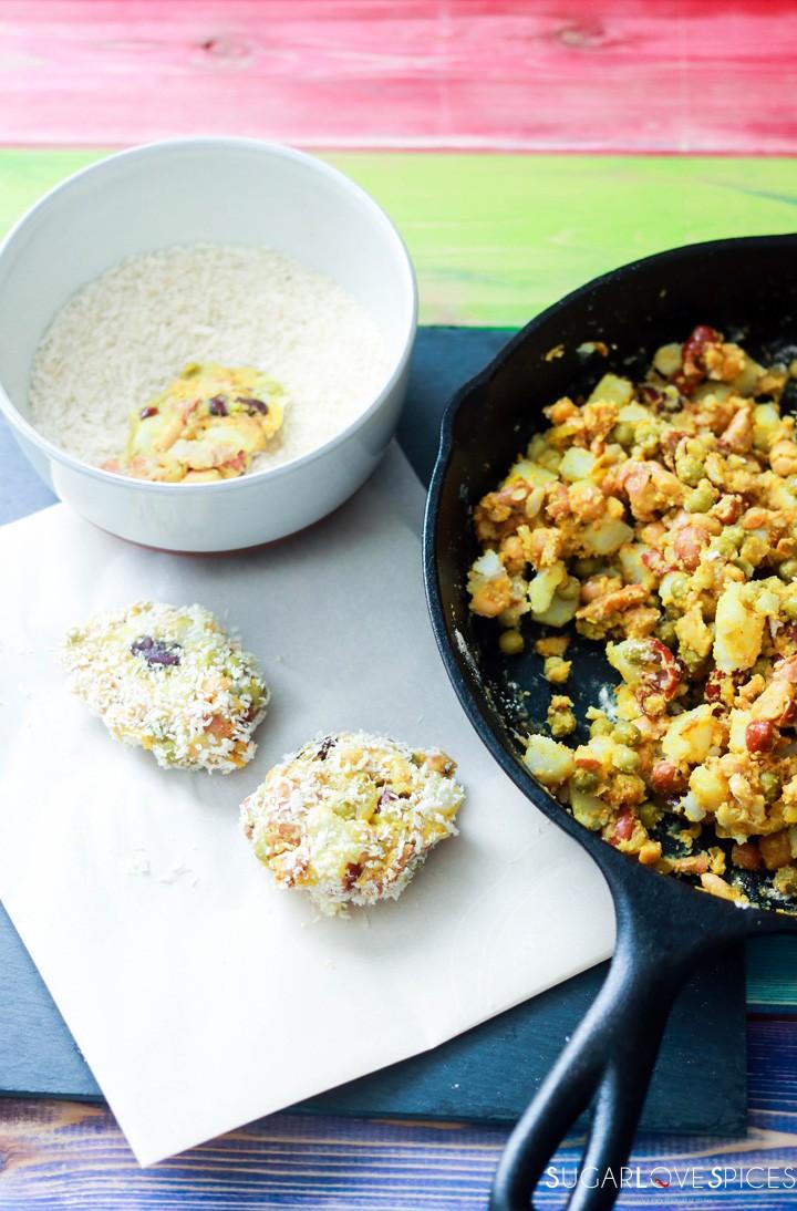 Bean medley Pakora Inspired Tacos-making pakoras
