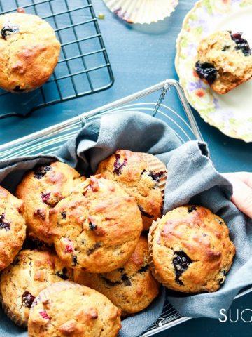 Blueberry Rhubarb Yogurt Muffins with Spelt Flour-feature