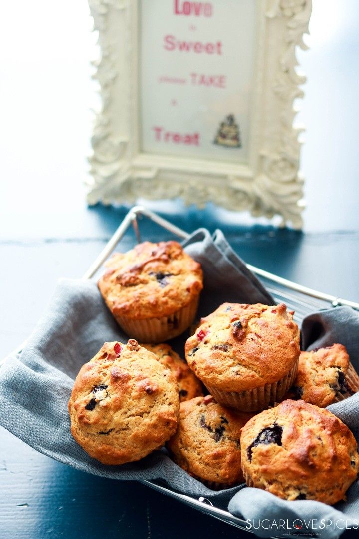 Blueberry Rhubarb Yogurt Muffins with Spelt Flour-in the basket