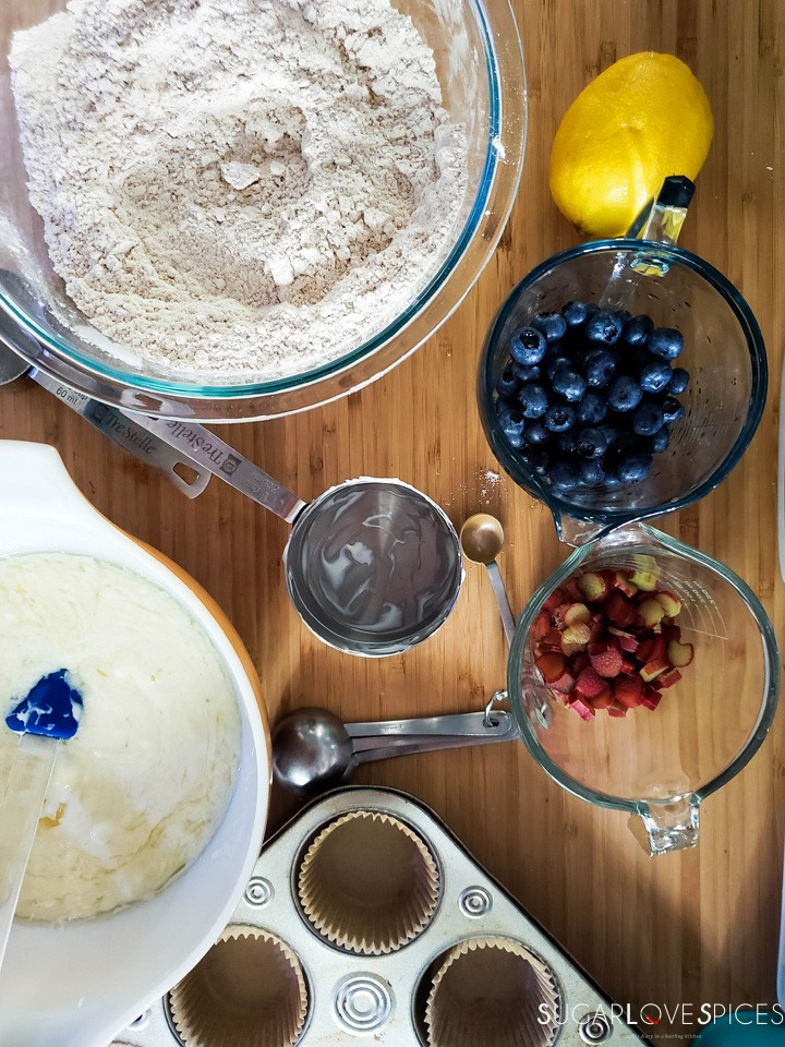 Blueberry Rhubarb Yogurt Muffins with Spelt Flour-preparation