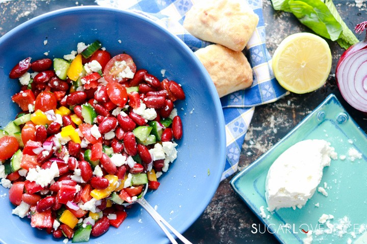 Red Kidney Bean Summer Salad with Feta-in the bowl and bread