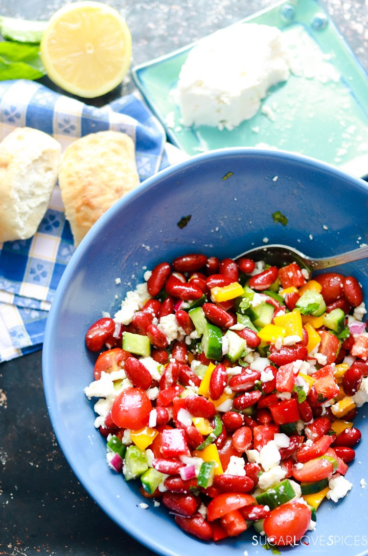 Red Kidney Bean Summer Salad with Feta-in the bowl
