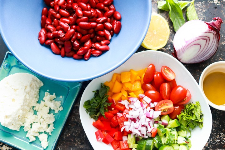 Red Kidney Bean Summer Salad with Feta-preparation