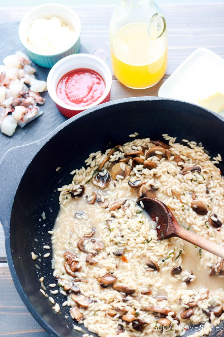 Crimini Mushroom and Lobster Risotto-adding broth to the pan