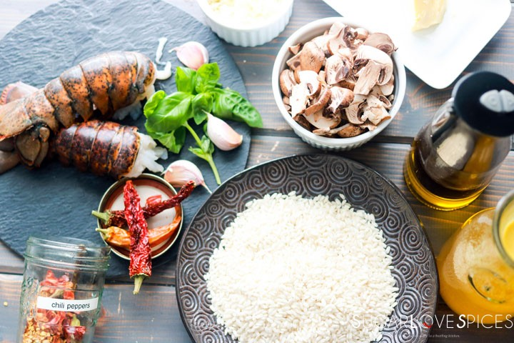 Crimini Mushroom and Lobster Risotto-ingredients on the board