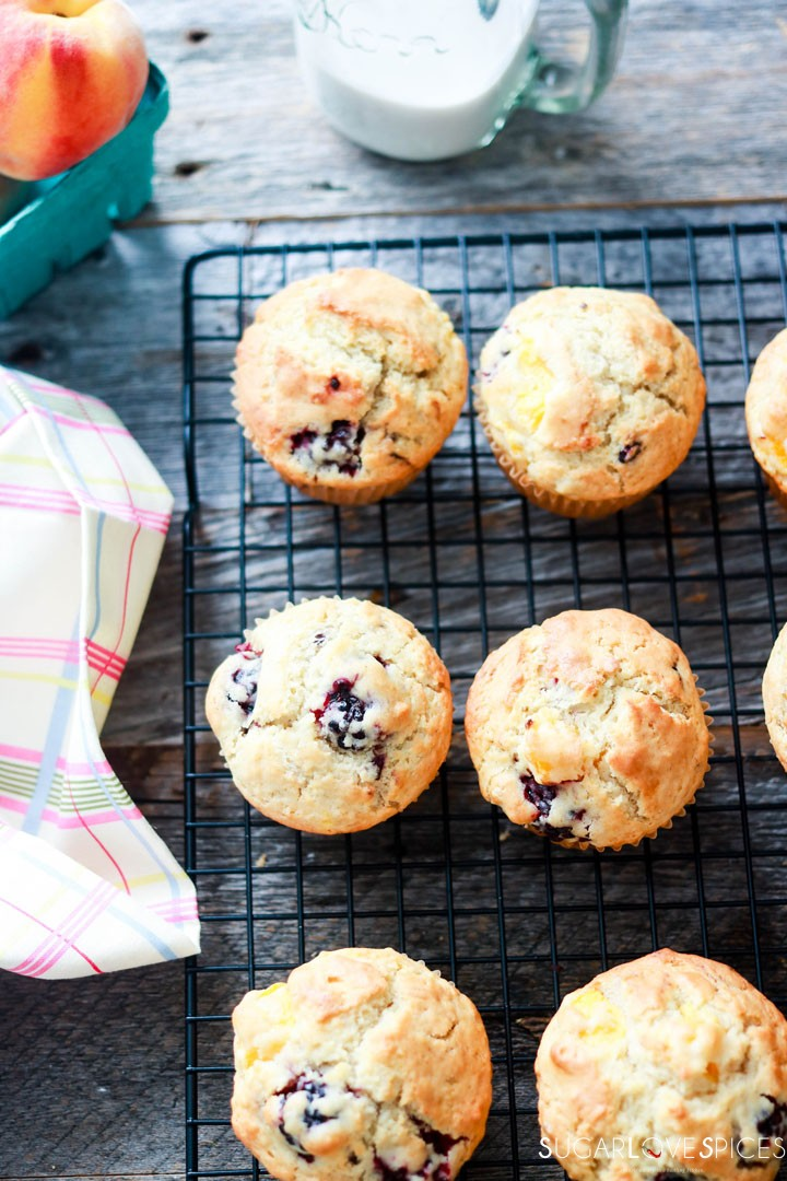 Dairy-free Blackberry Peach Muffins-on the rack