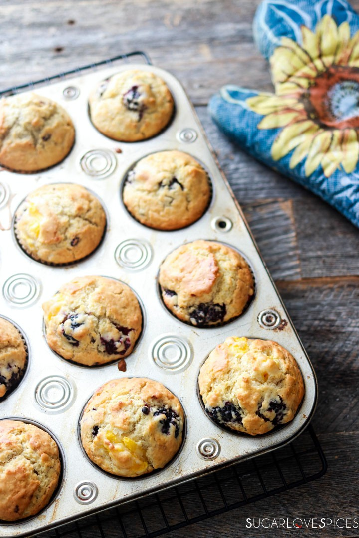 Dairy-free Blackberry Peach Muffins-out of the oven