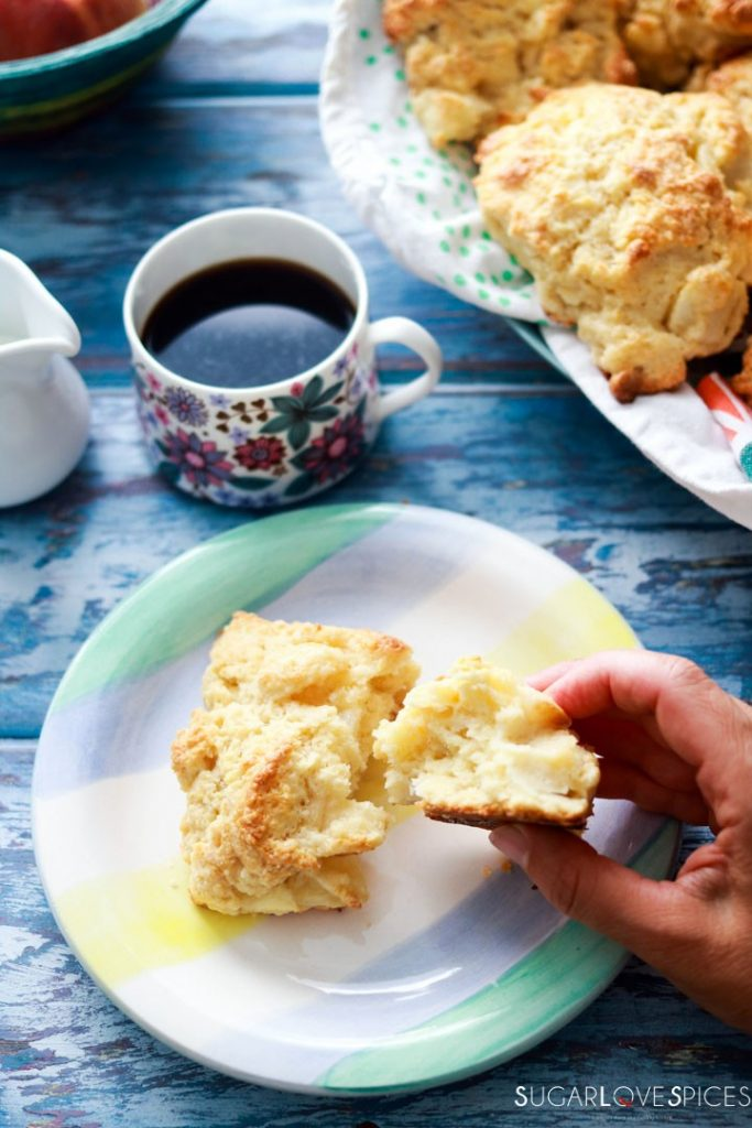 Peach White Chocolate Scones-one on the plate-broken