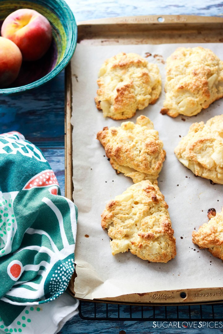 Peach White Chocolate Scones-out of the oven