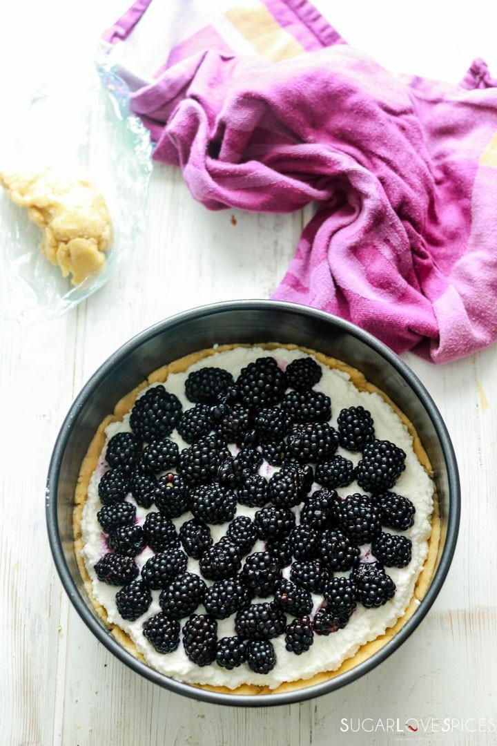 Blackberry Ricotta Sbriciolata-adding blackberries on ricotta