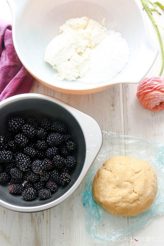 Blackberry Ricotta Sbriciolata-dough-blackberries-ricotta