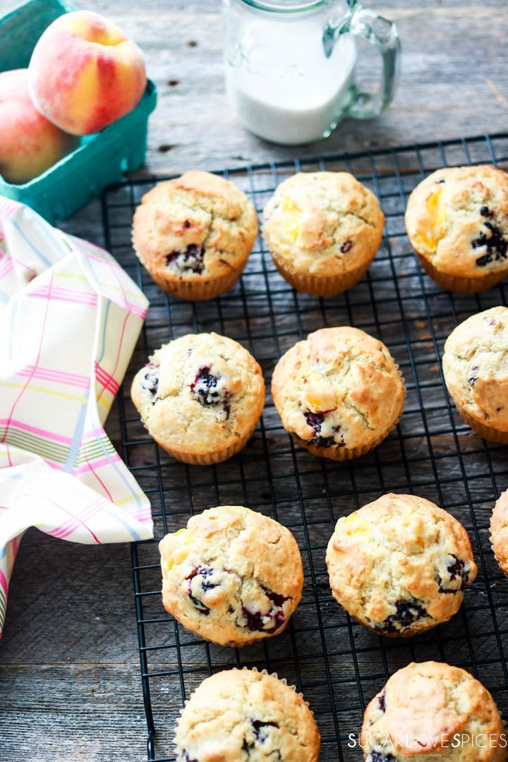 Dairy-free Blackberry Peach Muffins-on the rack-top
