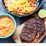 Grilled Ribeye with Roasted Red Pepper and Corn Succotash