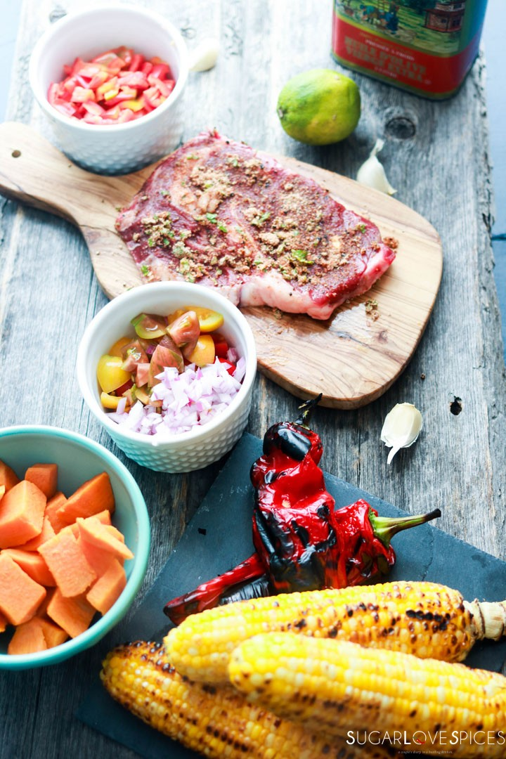 Grilled Ribeye with roasted red pepper and corn succotash-ingredients-grilled corn