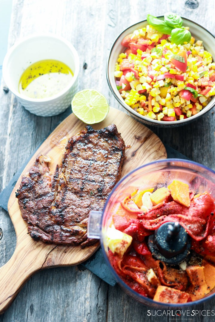 Grilled Ribeye with roasted red pepper and corn succotash-making-spread