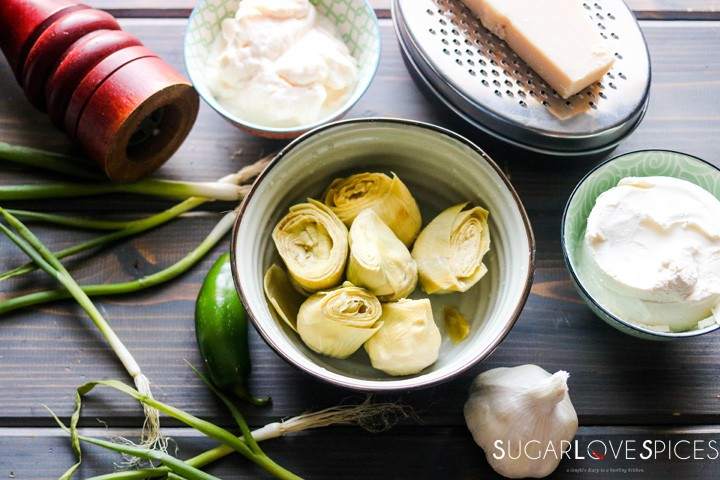 Simply delicious artichoke dip-ingredients