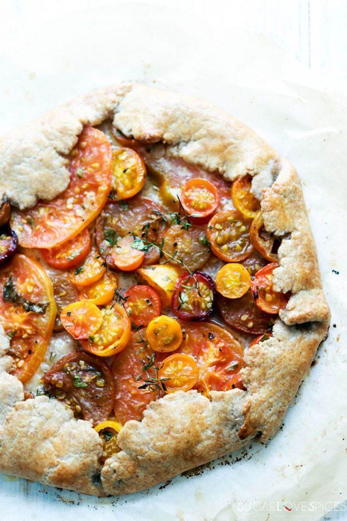 heirloom tomato galette-closeup